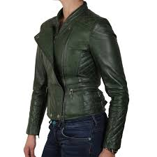 womens green biker leather jacket connie