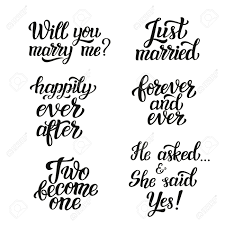 Just Married Quotes Hand Lettering Typography Wedding Set Romantic Quotes Will 13