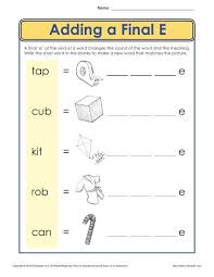 There are differences in opinion about whether using phonics is when approaching word families, i like to learn them in sets that have some commonality (for example, short a sounds or long e sounds). Ending Letter E Worksheet Phonics Worksheets