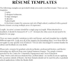 Examples Of Different Types Of Resumes Professional Theatre Resume