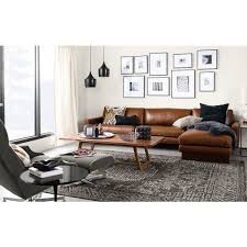 brown leather sofa living room view larger