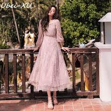 <b>Ubei</b> Spring <b>New</b> vintage French style dress fairy long khaki lace ...