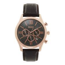 1513198 ambassador rose gold brown leather chronograph men 039 s watch
