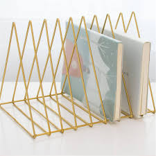 <b>Metal</b> Triangle <b>Iron Art Desktop Bookshelf</b> Letter Magazine Rack ...