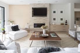 horizontal grain white oak wall panels an offset marble hearth balance the custom built