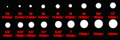 ear gauging chart actual size ear stretching chart more information