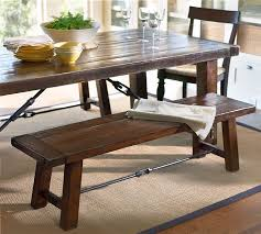 view full size pottery barn benchwright dining table with 2 benchwright benches in rustic mahogany stain potterybarn com