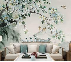 Wall Painting Paper Design Oriental Ink Painting Wallpaper Wall Mural Flowers Birds
