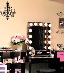 Makeup Tables For Bedrooms Exquisite Antique Chandelier Over Black Makeup Vanity With Square