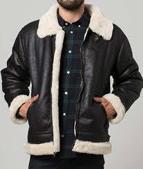 black leather mens aviator style shearling jacket