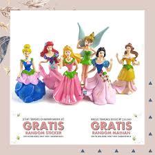 Jual Mainan Anak Hiasan Kue Figure Disney Princess Cake Topper Isi 6
