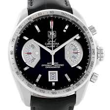 16416 tag heuer grand carrera brown leather strap mens watch cav511a box card swisswatchexpo