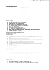 Sample Resume: Sle Of Physiotherapist Resume