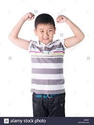 Skinny asian flexing muscles