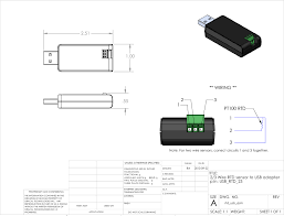 technologies inc wire rtd sensor to usb adapter drawing and wiring