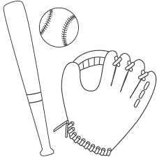 Glove Ball And Bat Coloring Page