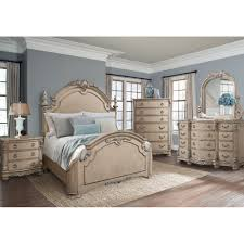South Hampton Bedroom Bed Dresser & Mirror King White