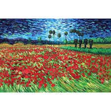 hand painted landscape vincent van gogh oil pictures canvas large wall painting field of poppies pop