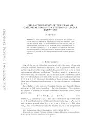 pdf characterization of the class of canonical forms for systems of linear equations
