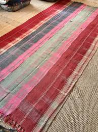 turkish kilim perde rug handwoven in pink red mint green anatolian vintage wool twill cover throw large size