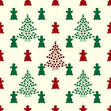 Christmas Tree And Snowmen Red Green Holiday Background Seamless