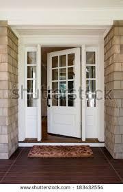 house front door open vertical shot open wooden front door stock photo royalty