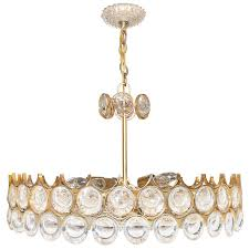 1960s gold plated brass and crystal chandelier by palwa for