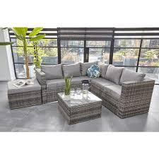 rattan garden furniture 6 seater corner