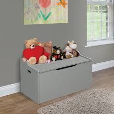 lift top bench seat toy box with safety hinge gray