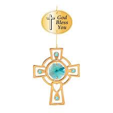 gold plated celtic cross ornament logo bless you w green swarovski element