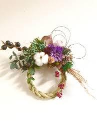 しめ縄飾り プリザーブドグリーンとドライフラワー   しめ縄飾り, ドライフラワー, 飾り