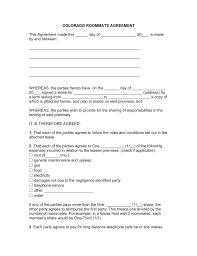 Roommate Rental Agreement Free Colorado Roommate Room Rental Agreement Template PDF Word 20