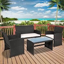wicker patio furniture. BCP 4-Piece Wicker Patio Furniture Set W/ Tempered Glass, Sofas, Table U