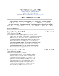 talent acquisition manager resume