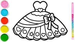 Vẽ váy búp bê đơn giản và tô màu cho bé | Dạy bé vẽ | Dạy bé tô màu | Gaun  Putri Halaman Mewarnai - YouTube