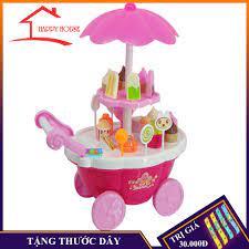 Đồ chơi, xe đẩy bán hàng kem, bánh kẹo.. dành cho bé gái dùng pin có nhạc,  có đèn đèn 39 chi tiết nhựa an toàn màu hồng chính hãng 65,000đ