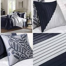 details about madison park amherst cal king size bed comforter set bed in a bag navy light