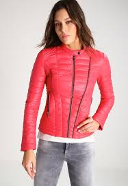 guess vona faux leather jacket tulip puree women clothing jackets red