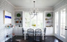 the pattern clad breakfast nook in the kitchen of designer katie kime s austin home