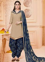 Different Neck Designs For Cotton Salwar Kameez Beige Cotton Punjabi Suit 99602 Salwar Suits Salwar Suit