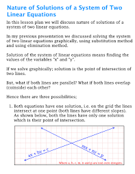 nature of solutions for system of two linear equations