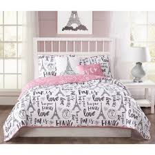 bonjour 5 piece pink black white reversible queen quilt set