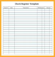 Free Checkbook Register Ledger Blank Check Page Printable Template E