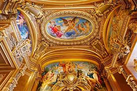 ceiling of the octagonal salon at the eastern end with jules Élie delaunay s central oval panel the zodiac and over door panel apollo receiving the lyre