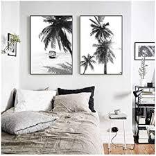 Dayanzai <b>Nordic</b> Tropical <b>Palm Tree</b> Canvas Painting Black White ...