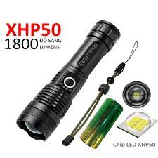 Bộ Đèn Pin Siêu Sáng XHP50 Tích Điện Dung Lượng Lớn Bóng LED Chip Sáng Cực  Mạnh Cổng Sạc MicroUSB - Đèn pin Hãng No brand