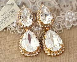 clear white chandelier earrings statement drop earrings rhinestone jewelry 14 k gold plated gold bridal earrings wedding jewelry