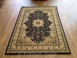 rug runner traditional persian design black cream gold small