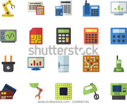 Circuit Number Color Chart Color Flat Icon Set Calculator Flat Stock Vector Royalty