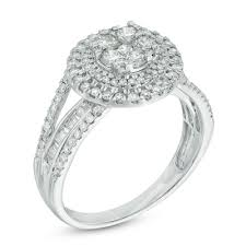 1 Ct T W Round And Baguette Diamond Composite Double Frame Engagement Ring In 10k White Gold